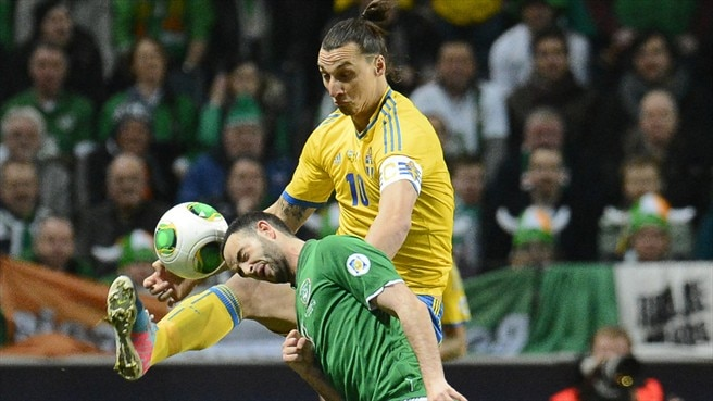 Zlatan Ibrahimović (Sweden) & Marc Wilson (Republic of Ireland)