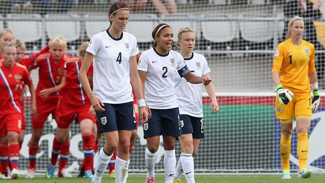 Jill Scott, Alex Scott, Fara Williams & Karen Bardsley (England)
