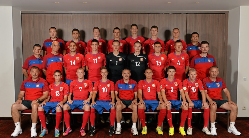 Serbia Under-19 squad and staff