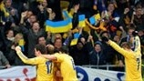 Ukraine players celebrate