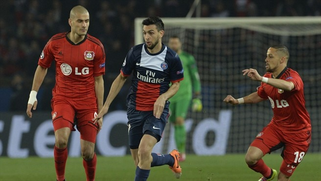 Javier Pastore (Paris Saint-Germain) & Sidney Sam (Bayer 04 Leverkusen)