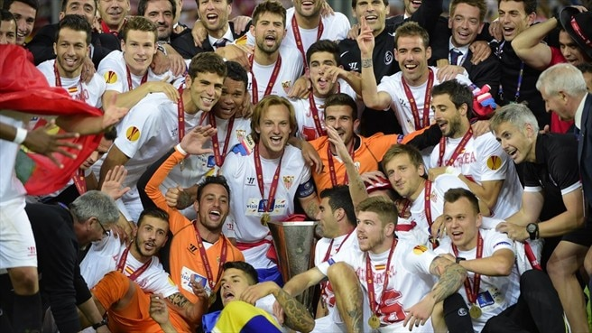 Sevilla FC players celebrate