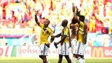 Colombia players celebrate