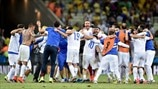 Greece players celebrate