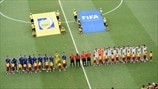 Bosnia and Herzegovina & Iran players line up