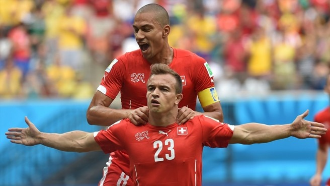 Shaqiri hat-trick helps Switzerland into last 16