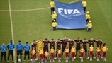 Germany players line up