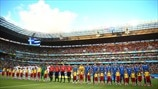 Costa Rica and Greece players line up