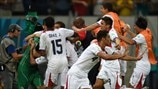 Costa Rica players celebrate