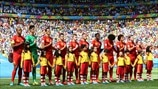 Belgium players line up