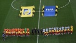 Netherlands and Argentina players line up