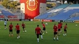 Gibraltar players train