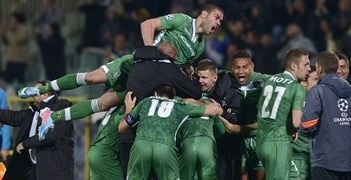 Ludogorets joy after earning Bulgaria's first points