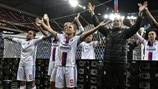 Lyon players celebrate