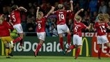 Denmark players celebrate