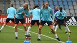 Netherlands players train