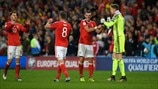 Aaron Ramsey, Andy King, Gareth Bale and Wayne Hennessey (Wales)