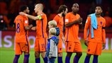 Netherlands players react