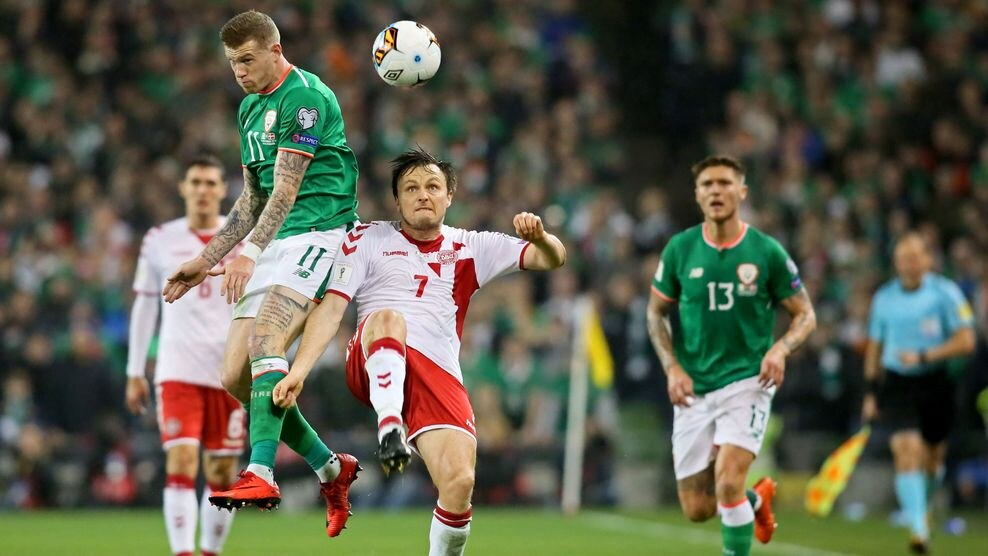James McClean (Republic of Ireland) & William Kvist (Denmark)