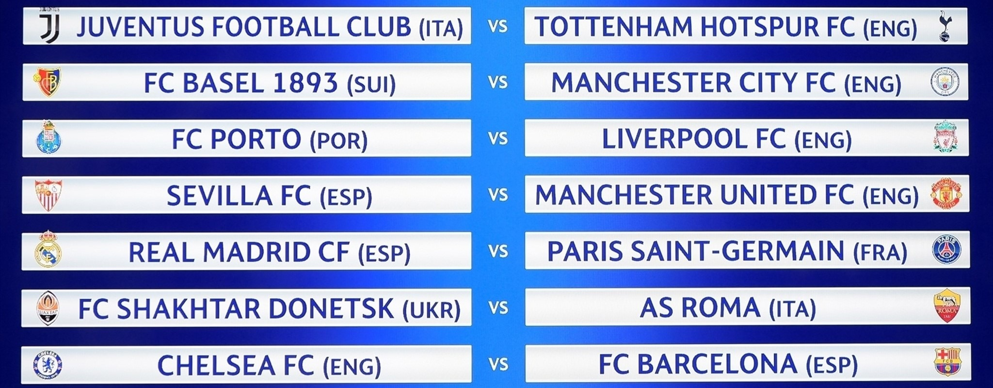Full guide to the Champions League round of 16 draw