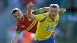Rory Donnelly (Cliftonville) & Robbie Patten (Barry Town)