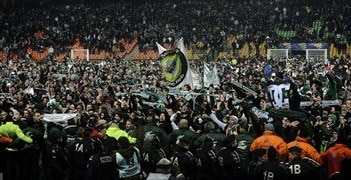 St-Étienne fans celebrate reaching the club's first final in 31 years