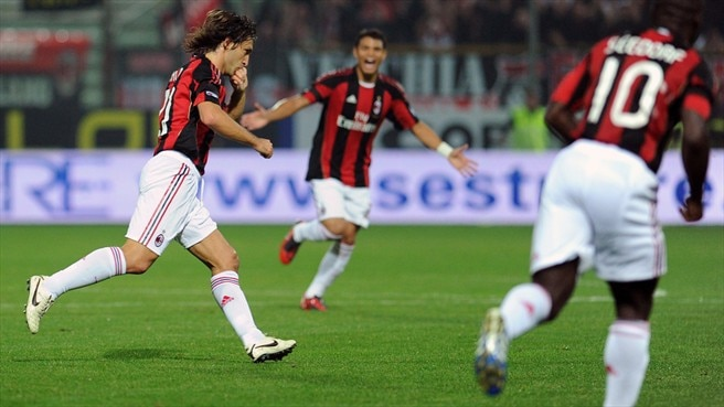 Pirlo wonder strike takes Milan top