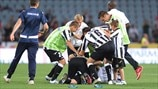 Udinese players celebrate qualification