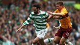 Giorgos Samaras (Celtic FC) and Shaun Hutchinson (Motherwell FC)