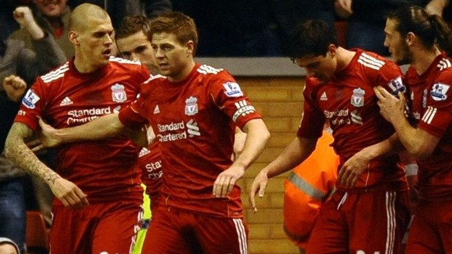 Gerrard treble halts Liverpool slide against Everton