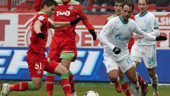 Action from FC Lokomoitv Moskva vs FC Zenit St Petersburg game