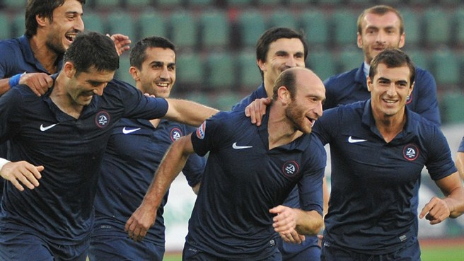 FC Dinamo Tbilisi players celebrate