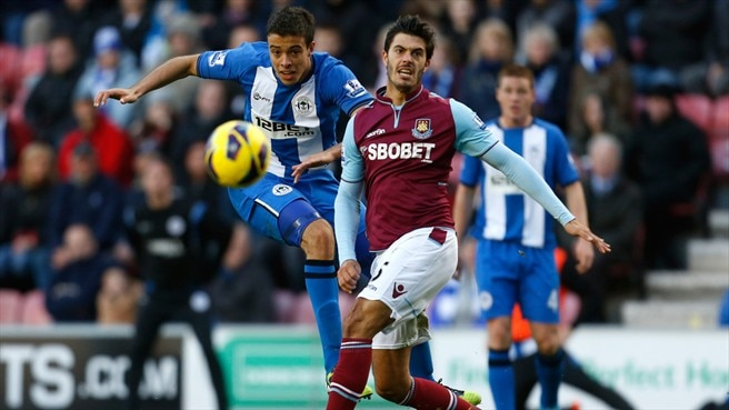 Franco Di Santo (Wigan Athletic FC) & James Tomkins (West Ham United FC)