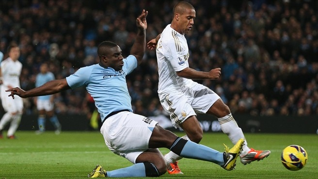 Micah Richards (Manchester City FC) & Wayne Routledge (Swansea City AFC)