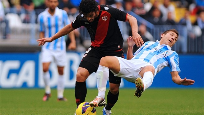 Francisco Portillo (Málaga CF) & Jose Manual Casado Bizcocho (Rayo Vallecano de Madrid)