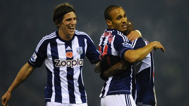 Billy Jones, Peter Odemwingie & Youssuf Mulumbu (West Bromwich Albion FC)