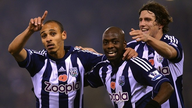 Peter Odemwingie, Youssuf Mulumbu & Billy Jones (West Bromwich Albion FC)