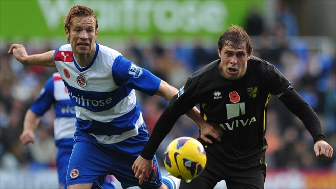 Kaspars Gorkšs (Reading FC) & Grant Holt (Norwich City FC)