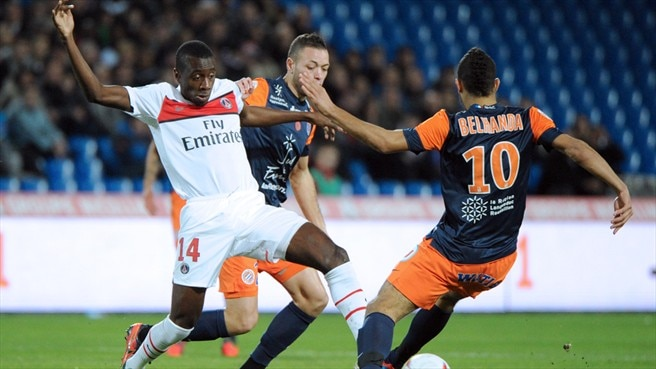 (Paris Saint-Germain FC) & Younes Belhanda & Jamel Saihi (Montpellier Hérault SC) & Blaise Matuidi (Paris Saint-Germain FC)