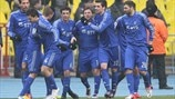 FC Dinamo Moskva players celebrate after scoring againsr FC Spartak Moskva