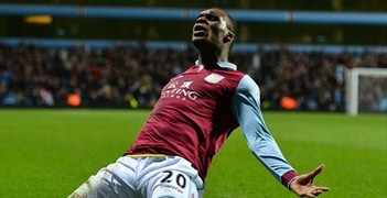 Christian Benteke celebrates his late winner for Aston Villa