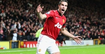 Robin van Persie celebrates his goal after 33 seconds