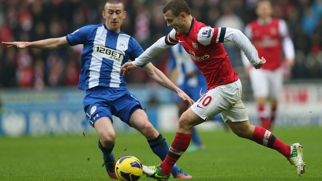 Jack Wilshere (Arsenal FC) & David Jones (Wigan Athletic FC)