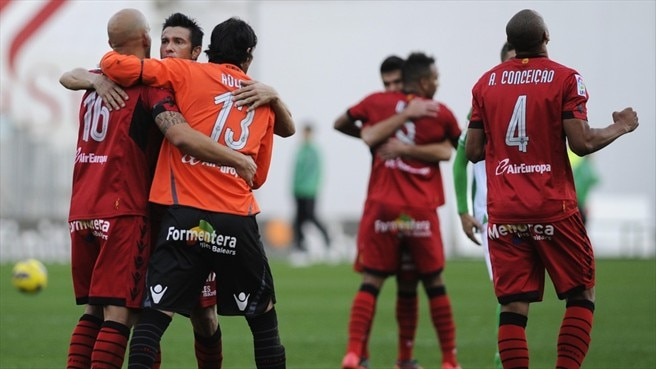 RCD Mallorca players celebrate