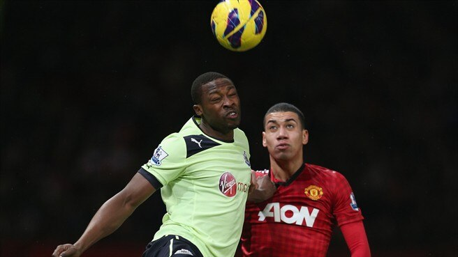Shola Ameobi (Newcastle United FC) & Chris Smalling (Manchester United FC)