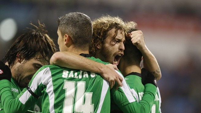 Real Betis Balompié players celebrate