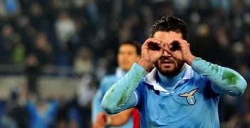 Antonio Candreva after scoring Lazio's late winner from the penalty spot