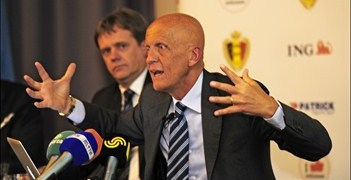 Paul Allaerts and Pierluigi Collina (right) at the Brussels press conference