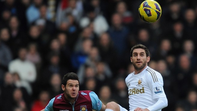 Angel Rangel (Swansea City AFC) & Matt Jarvis (West Ham United FC)