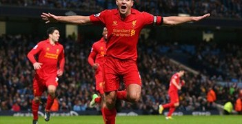 Liverpool captain Steven Gerrard celebrates after a trademark strike